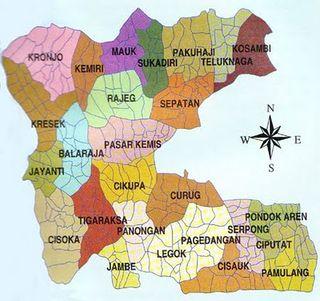 Peta-kabupaten tangerang- sebagian telah pecah menjadi kota Tangerang Selatan